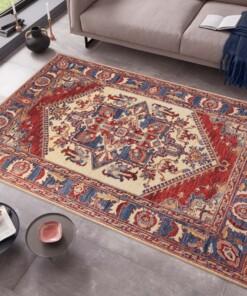 Klassiek vloerkleed Ernest - rood/blauw - sfeer, thumbnail