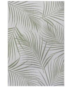 Binnen & buiten vloerkleed Tropical leaf - crème/groen - overzicht boven