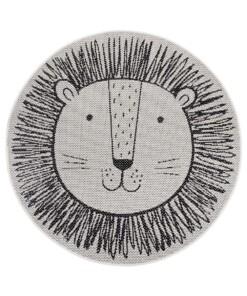 Rond kinderkamer vloerkleed Leeuw - crème/zwart - overzicht boven