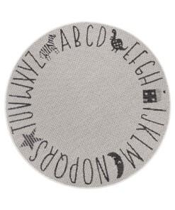 Rond kinderkamer vloerkleed Alfabet - crème/zwart - overzicht boven