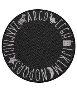 Rond kinderkamer vloerkleed Alfabet - zwart/crème - overzicht boven