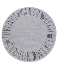 Rond kinderkamer vloerkleed Alfabet - zilver/grijs - overzicht boven
