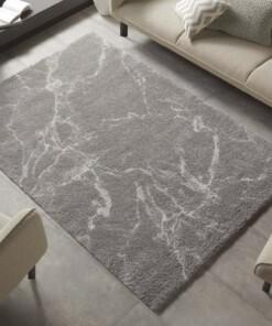 Hoogpolig vloerkleed marble Mayrin - grijs/crème - sfeer, thumbnail