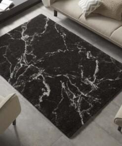 Hoogpolig vloerkleed marble Mayrin - zwart/crème - sfeer, thumbnail