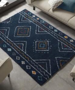 Hoogpolig vloerkleed Disa - blauw/meerkleurig - sfeer, thumbnail
