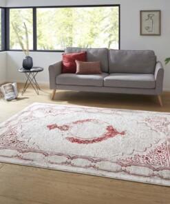 Modern oosters vloerkleed Alain - zilver/rood - sfeer, thumbnail