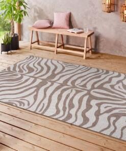 Binnen & buiten vloerkleed Zebra - lichtbruin/crème - sfeer, thumbnail