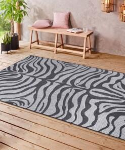 Binnen & buiten vloerkleed Zebra - grijs/zilver - sfeer, thumbnail