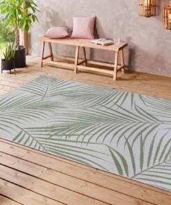 Binnen & buiten vloerkleed Tropical leaf - crème/groen - sfeer, thumbnail