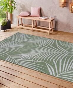 Binnen & buiten vloerkleed Tropical leaf - groen/crème - sfeer, thumbnail