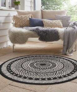 Binnen & buiten vloerkleed rond Mandala - zwart/crème - sfeer, thumbnail