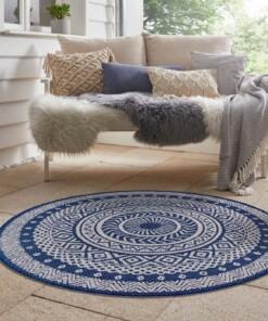 Binnen & buiten vloerkleed rond Mandala - blauw/crème - sfeer, thumbnail