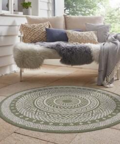Binnen & buiten vloerkleed rond Mandala - groen/crème - sfeer, thumbnail