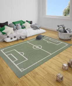 Kinderkamer vloerkleed Voetbalveld - groen/zwart - sfeer, thumbnail