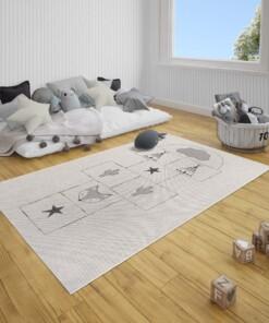 Kinderkamer vloerkleed Hink-Stap-Sprong - crème/zwart - sfeer, thumbnail