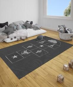 Kinderkamer vloerkleed Hink-Stap-Sprong - zwart/crème - sfeer, thumbnail