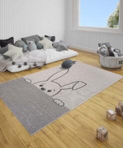 Kinderkamer vloerkleed Peeking bunny - crème/zwart - sfeer, thumbnail