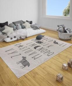 Kinderkamer vloerkleed Alfabet - crème/zwart - sfeer, thumbnail