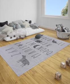 Kinderkamer vloerkleed Alfabet - zilver/grijs - sfeer, thumbnail