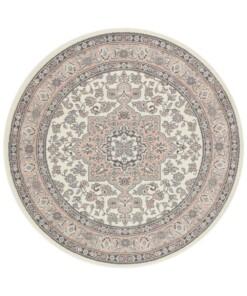Perzisch tapijt rond Parun Täbriz- crème/roze - overzicht boven