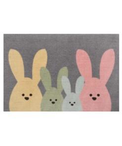 Deurmat Bunny Wasbaar 30°C - grijs/meerkleurig - overzicht boven, thumbnail