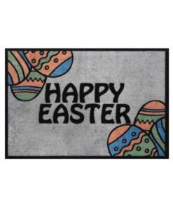 Deurmat Happy Easter Wasbaar 30°C - grijs - overzicht boven, thumbnail