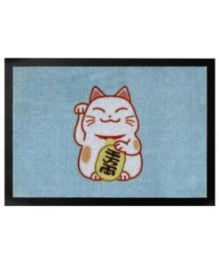Deurmat Lucky Cat Wasbaar 30°C - lichtblauw - overzicht boven, thumbnail