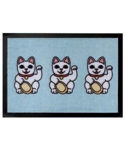Deurmat Three Lucky Cats Wasbaar 30°C - lichtblauw - overzicht boven, thumbnail