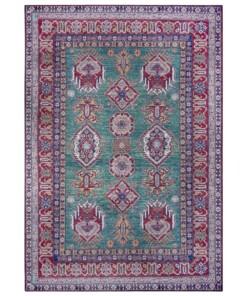 Oosters vloerkleed Aren Kazak - groen/rood - overzicht boven