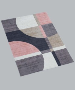 Vloerkleed - Geo No.3 - roze/goud - overzicht schuin