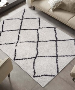 Hoogpolig vloerkleed ruiten Berber - crème/zwart - sfeer, thumbnail