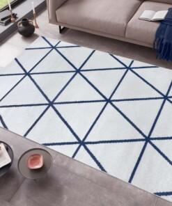 Modern vloerkleed ruiten Tres - ivoor/blauw - sfeer, thumbnail